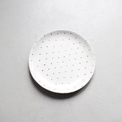 7寸皿 / 金彩 _ 小ドット・White