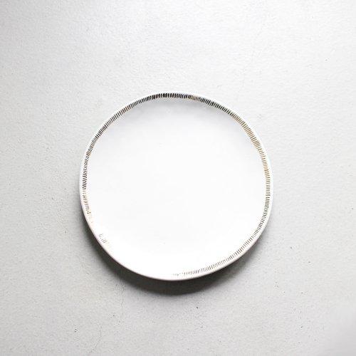 7寸皿 / 金彩 _ ライン・White