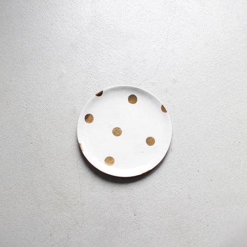5寸皿 / 金彩 _ ドット・White