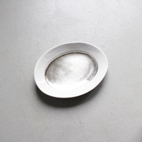 オーバル皿 / 銀彩 _ 切替・White