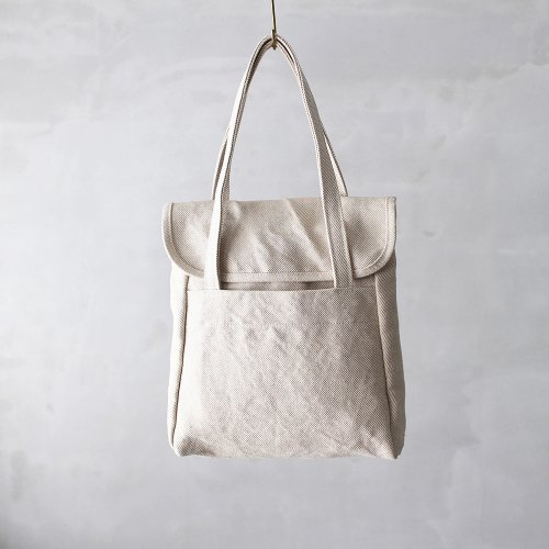flap tote _ no.1 / natural - cotton × jute twill