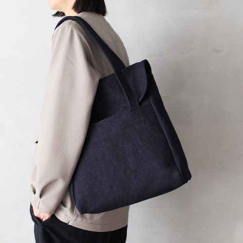 flap tote _ no.1 / d.navy - cotton × jute twill