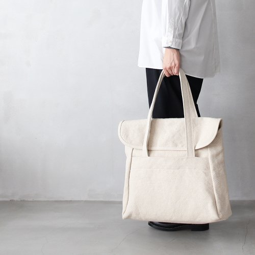 flap tote _ no.2 / natural - cotton × jute twill