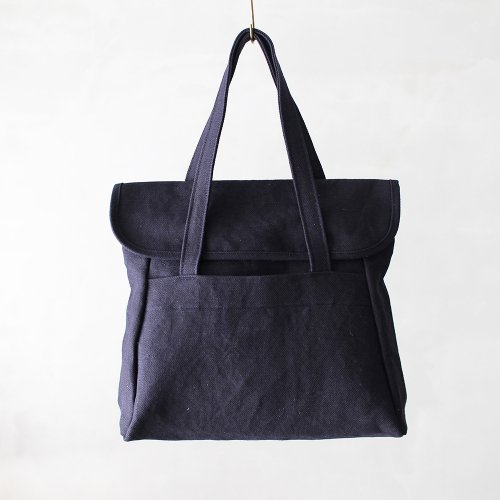 flap tote _ no.2 / d.navy - cotton × jute twill