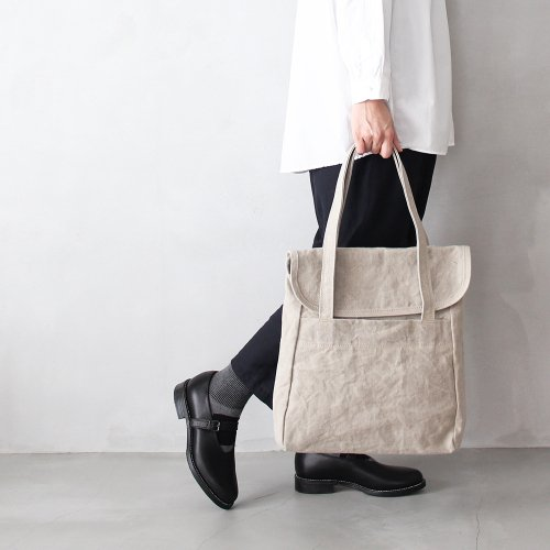 flap tote _ no.1 / wash natural - linen paraffin canvas