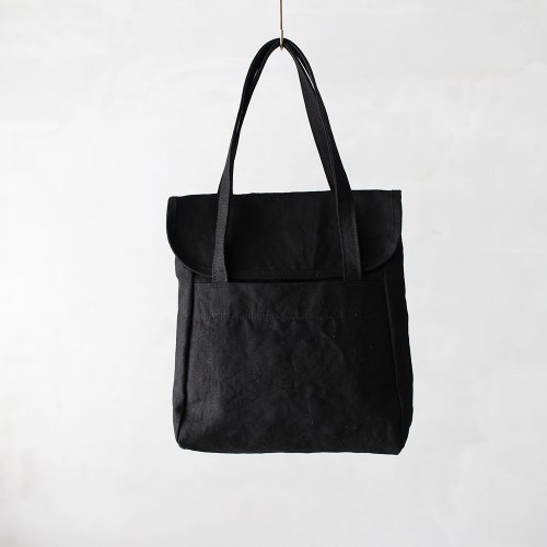flap tote _ no.1 / wash black - linen paraffin canvas