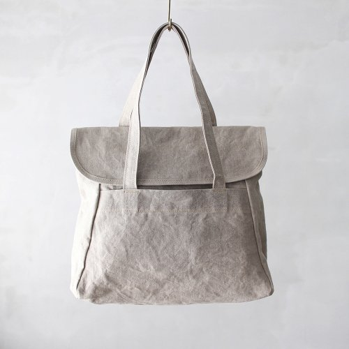 flap tote _ no.2 / wash natural - linen paraffin canvas