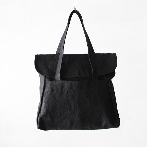 flap tote _ no.2 / wash black - linen paraffin canvas