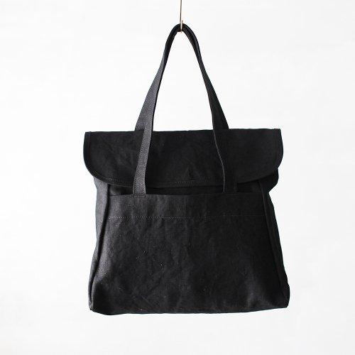 flap tote _ no.2 / wash black - linen paraffin canvas