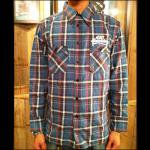 420RECORDZ COLLGE LOGO FLANNEL SHIRTS BLU