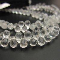 水晶AAAドロップカットビーズ約4×6.5mm 1粒/一連