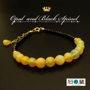 王族が愛した幸せを招く輝き エチオピアンオパール ブラックスピネル ブレスレット ゴールドフィルド パワーストーン