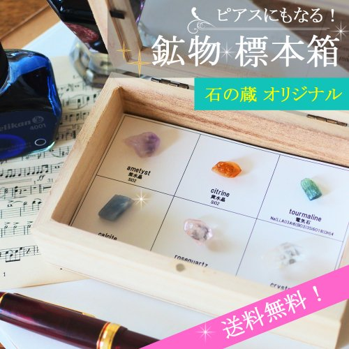 【夏限定】ピアスにもなる!鉱物標本箱 石の蔵オリジナル サージカルステンレス 原石