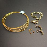 ワイヤーネックレス手作りキット◇レシピ付き◇(ゴールド色)