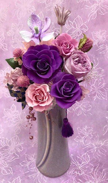 和風プリザーブドフラワーアレンジ「紫...