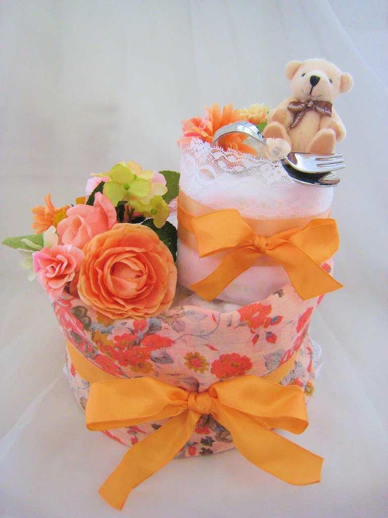 おむつケーキ(ダイパーケーキ)出産祝い☆ママ&ベビー・ハッピーベア  「スプーンフォーク&ストール」