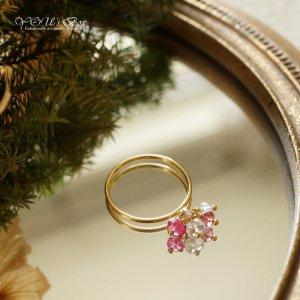 宝石質小粒ストーンリング - noix - ピンクベージュミックス