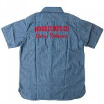 "SUGAR CANE""CHAMBRAY SHORT SLEEVE WORK SHIRT,MORRIS MFG.CO."""