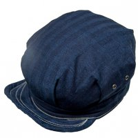"SFV MERCANTILE CO. ""ENGINEER & WORKMAN CAP IN JAPANESE INDIGO HERRINGBONE TWILL"