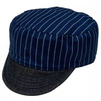 "SFV MERCANTILE CO. ""BOILER CAP IN JAPANESE INDIGO WABASH STRIPE"