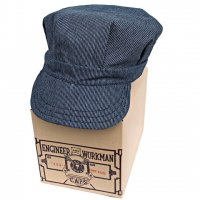 "BEAR BRAND ""ENGINEER & WORKMAN CAP""JAPANESE INDIGO DOT MICRO-STRIPE"