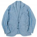 "Workers K&T H MFG Co""Lounge Jacket, Cotton Linen Chambray Blue"""