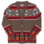 "SALTWATER COWBOY ""TREADE BLANKET KNIT CARDIGAN, BROWN"