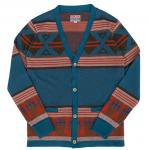 "SALTWATER COWBOY ""TREADE BLANKET KNIT CARDIGAN, BLUE"