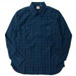 "SUGAR CANE""INDIGO BROAD CHECK LONG SLEEVE WORK SHIRT"""
