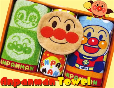 子供達の一番人気☆それいけ!アンパンマンタオルセット(顔付きミニタオル1P、フェイス2P)