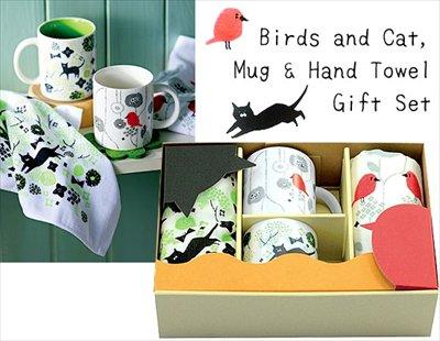 小鳥とネコちゃん☆マグカップとハンドタオルのペアギフトセット