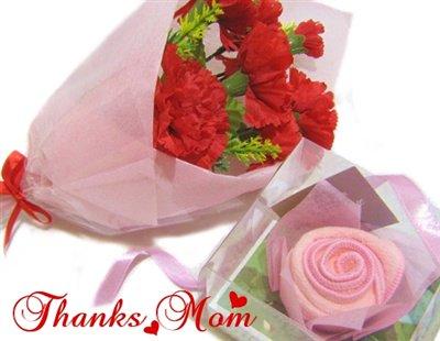【母の日に♪】ふんわりローズのタオルフラワー&枯れないカーネーションブーケ(ピンク)