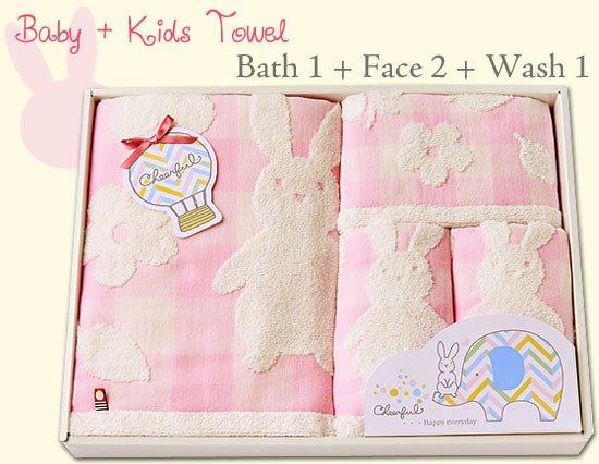 Baby & Kidsのための今治タオルギフト(バス1P・フェイス2P・ウォッシュ1P)(ピンク)