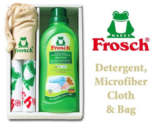 ドイツ製フロッシュ 植物由来のランドリーソープ&ファイバークロス&巾着ギフト