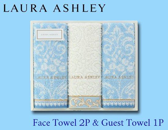 LAURA ASHLEYの上品ゴールドステッチタオルギフト(フェイス×2、ゲスト×1)