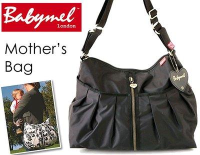 ロンドンスタイル ママのために作られたBabymelのマザーズバッグ(ジッパー・ブラック)