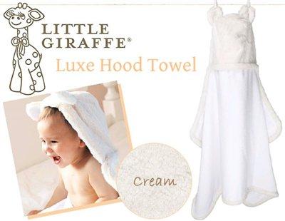 ハリウッド・セレブのお気に入り♪Little Giraffeのふんわりお耳付きフードタオル(クリーム)