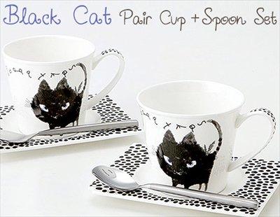 癒され黒猫ちゃんの ペアカップ&スプーンのギフトセット