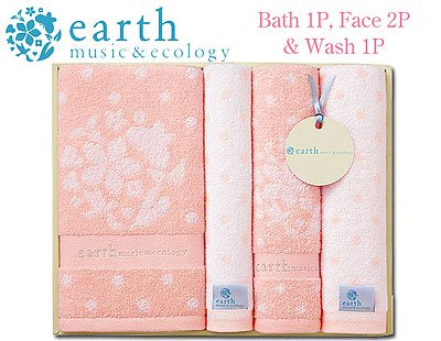 ナチュラルガーリッシュ♪earth music&ecologyのタオルギフト(バス1・フェイス2・ウォッシュ1)Pink